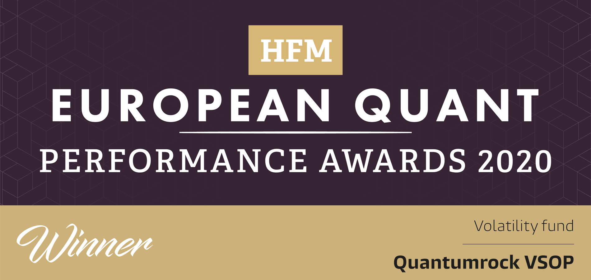 VSOP recognised for performance at this year's HFM European Quant Awards 2020